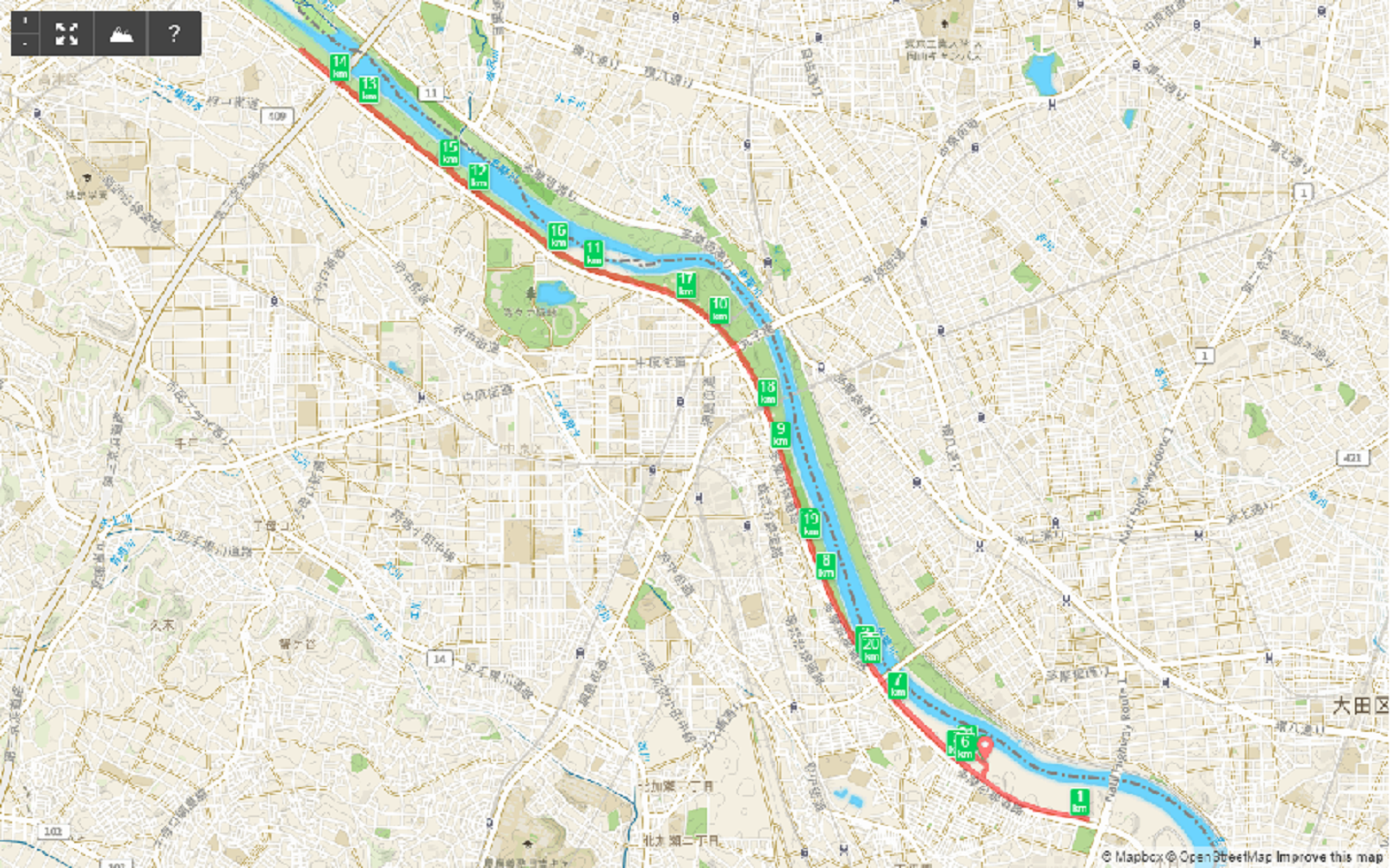多摩川ハーフマラソン地図