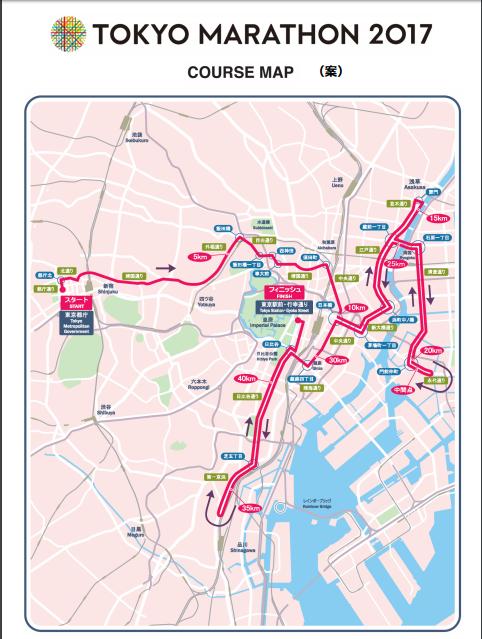 東京マラソン2017コース図